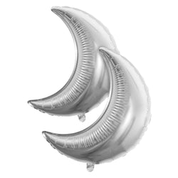 Pack of 2 Silver Crescent Moon Eid & Ramadan Foil Balloon