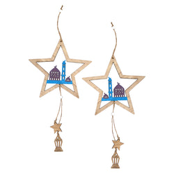 Set of 2 Wooden Star Hanging Decoration