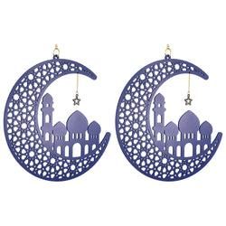 Set of 2 Blue Wooden Ramadan / Eid Crescent Moon & Mosque Hanging Decorations