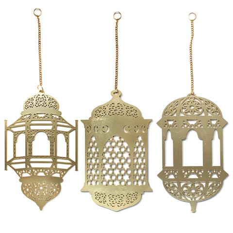 Gold Wooden Ramadan / Eid Hanging Lantern Hanging Decorations