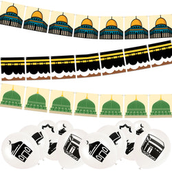 Hajj & Umrah Eid Bunting White Symbol Balloon Decoration Set