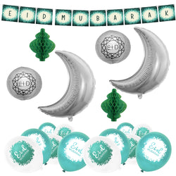 Green & Teal Botanical Bunting, 2pc Silver Moon Foil Balloons, Green Paper Honeycomb Lanterns, Silver Geo Paper Lantern + Green & White Eid Balloons Decoration SET 14