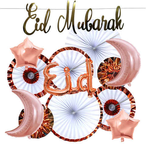 Gold Eid Mubarak Italic Cut Out Bunting, 2pc Rose Gold Moon &  2pc Star Foil Balloons, Rose Gold Eid Foil Balloon, Copper Paper Fan Decoration SET 26