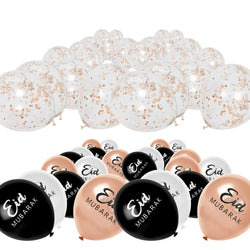 Rose Gold, Black & White Eid Balloon + Rose Gold Confetti Balloon Decoration Set