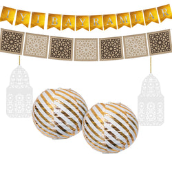 Eid al-Adha / Bakra / Kurban Bayram: Turkish Bunting, Hessian Bunting, Gold Lantern & White Wooden Lantern Decoration SET 39