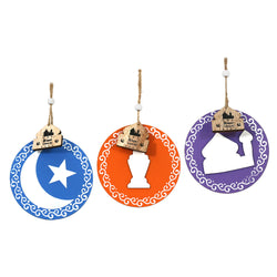 Set of 3 Round Wooden Hanging Decorations (Moon, Lantern & Mosque)