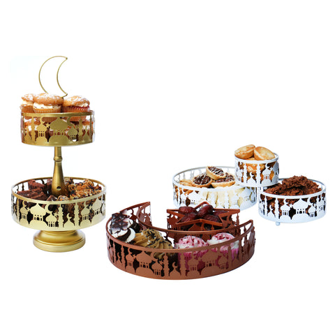 Set of 7 Ramadan & Eid Mosque Cutout Metal Food Serving Trays & Stand