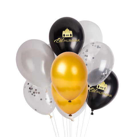 Black, Gold & Silver Balloon Bunch.