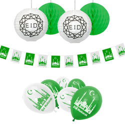 Eid Mubarak Green & White Balloons, Bunting & Hanging Honeycomb & Lantern Party Set