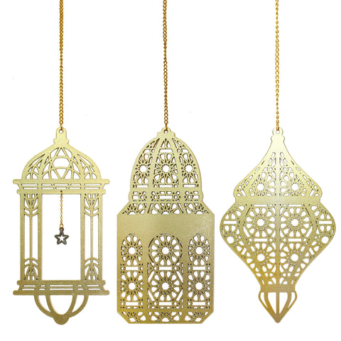 Pack of 3 NEW Gold Ramadan / Eid Wooden Lantern Hanging Decorations