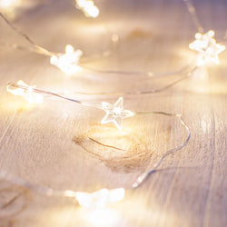 3.5m / 40x LED Stars Warm White Eid / Ramadan Battery Powered Fairy Lights