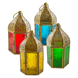 Set of 4 Antique Brass Coloured Glass Tea Light Candle Lanterns
