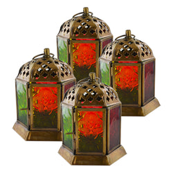 Set of 4 Antique Brass Green & Red Glass Tea Light Candle Lanterns