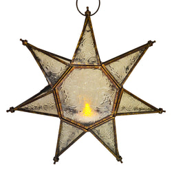 7-Point Star Copper Gold Clear Glass Tea Light Candle Hanging Lantern