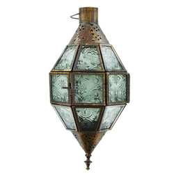 Single Antique Brass Clear Glass Tea Light Candle Hanging Lantern