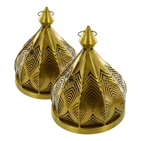 Set of 2 Gold Metal Leaf Tea Light Candle Holders