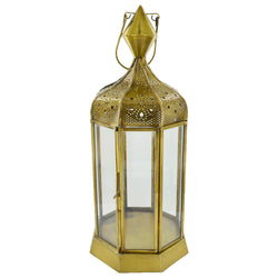 Extra-Large Antique Brass Clear Glass Tea Light Candle Lantern