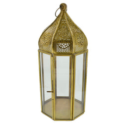 Large Antique Brass Clear Glass Tea Light Candle Lantern