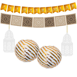Eid al-Adha / Bakra / Kurban Bayram: Turkish Bunting, Hessian Bunting, Gold Lantern, White Wooden Lantern Decoration SET 41