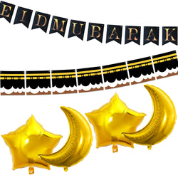 Eid al-Adha / Bakra / Kurban Bayram: Black Bunting, Kaaba Bunting, 4pc Gold Foil Moon & Star Balloons Decoration SET 42