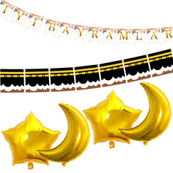 Eid al-Adha / Bakra / Kurban Bayram: Turkish Bunting, Kaaba Bunting, 4pc Gold Foil Moon & Star Balloons Decoration SET 43