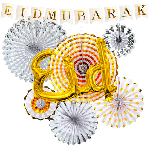 "Eid al-Adha / Bakra / Kurban Bayram: White Bunting, Gold & Silver Fans, Gold Foil ""Eid"" Balloon & 4pc Sheep Decoration SET 46"