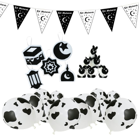 Eid al-Adha / Bakra / Kurban Bayram: Black & White Bunting, Cow Balloons, 5pc Felt Symbols & 6pc Fluffy Sheep Decoration SET 47