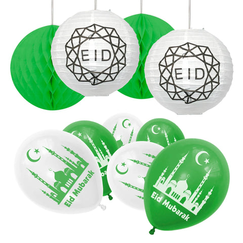 Eid Mubarak Green & White Balloons & Hanging Honeycom b& Lantern Party Set