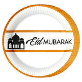 """Eid Mubarak"" Golden Mosque Tableware, Balloons & Banner Set"