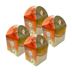 Eid/Ramadan Large Gift & Treat Celebration Boxes - Gold/Orange/Teal (4 Pack)