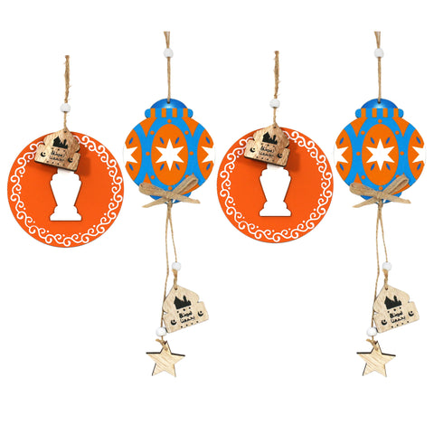 Set of 4 Orange & Blue Wooden Lantern Hanging Decorations