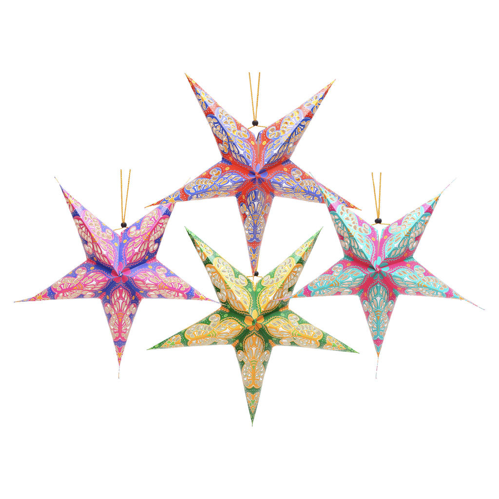 Pack Of 4 Multicolour Large Paper Hanging Star Eid