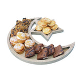 Rustic Plain Wooden Crescent Moon & Star Eid/Ramadan Food Serving Tray
