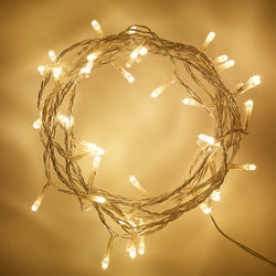 4m / 50x LED Warm White Eid / Ramadan Indoor Fairy Lights on Clear Cable