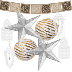 Eid al-Adha / Bakra / Kurban Bayram: Hessian Bunting, Silver Stars, Gold Paper Lanterns & 4pc White Wooden Lanterns Decoration SET 51