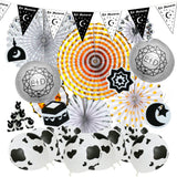 Eid al-Adha / Bakra / Kurban Bayram: Eid Bunting, Felt Symbols, 2pc Silver Lanterns, Cow Balloons, Fluffy Sheep & Concertina Decoration SET 54