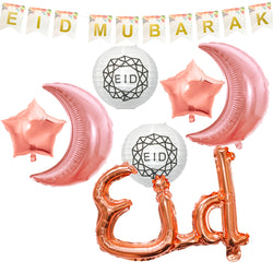 Floral Bunting, White Geo Paper Lanterns, 2pc Rose Gold Foil Moon & 2pc Star Balloons + Pink Eid Foil Balloon Decoration SET 27