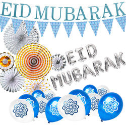 Blue Eid Letter Bunting, Blue Ottoman Bunting, Silver & Gold Fans, Silver Eid Foil Balloon & Blue/White Balloon Decoration SET 10