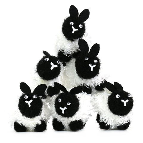Pack of 6  Eid al-Adha Small Fluffy Black & White Sheep Decorations