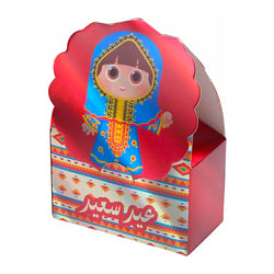 Pack of 12 Red Kids Eid Boy & Girl Characters Celebration Gift Favour Boxes