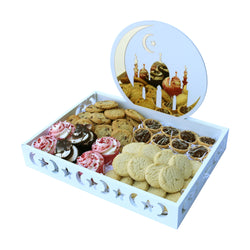 White Wooden/Metallic Mosque Eid Mubarak Food Serving Tray - Large