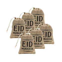 Pack of 6 Eid Mubarak Mini Hessian Pull String Gift Pouches (13x11cm)