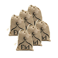 Pack of 6 Eid & Mosque Mini Hessian Pull String Gift Pouches (13x11cm)