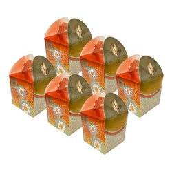 Eid/Ramadan Large Gift & Treat Celebration Boxes - Gold/Orange/Teal (6 Pack)
