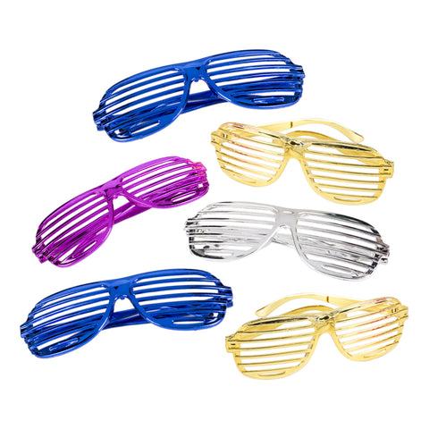 Pack of 6 Metallic Shutter Shade Novelty Glasses