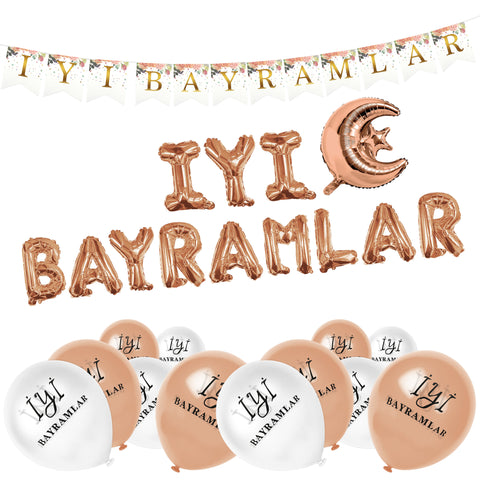 Bayram Rose Gold Set - Foil Balloons, Floral Bunting and White and Rose Latex Balloons