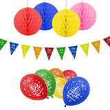 Eid Mubarak Multicolour Balloons, Bunting & Hanging Honeycomb Balls Party Set
