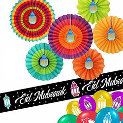 Set of 6 Bright & Colourful Concertina Fan Out Lantern Decorations + 3m Foil Banner Set + 10 Balloons