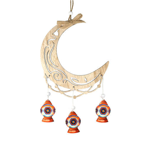 Single Wooden Crescent Moon with Ornate Cutout Pattern & Hanging Lanterns Decoration