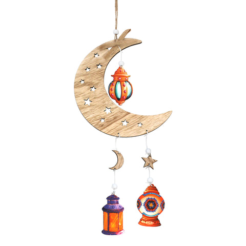 Single Wooden Crescent Moon with Cutout Stars & Hanging Lanterns Decoration